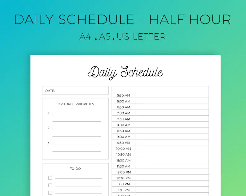 Half-Hourly Planner Printable Daily Planner Daily Schedule Etsy