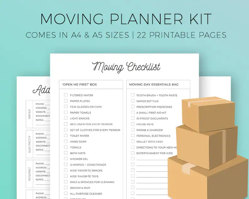 Moving Planner Kit Printable Huge Moving Checklist Moving Etsy