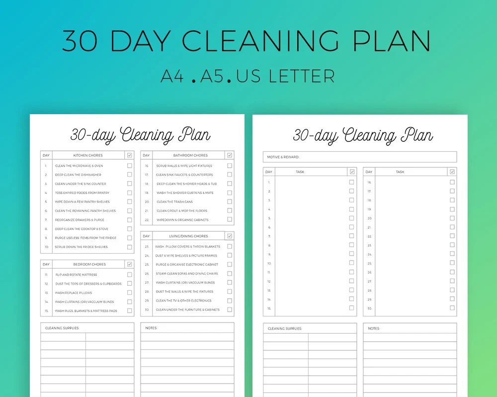 30 Day Cleaning Planner Monthly Cleaning Checklist Prefilled Etsy