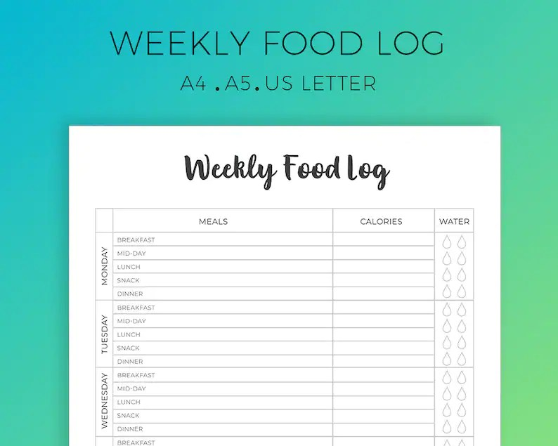 Weekly Food Log Printable Daily Food Tracker Diet Planner Etsy