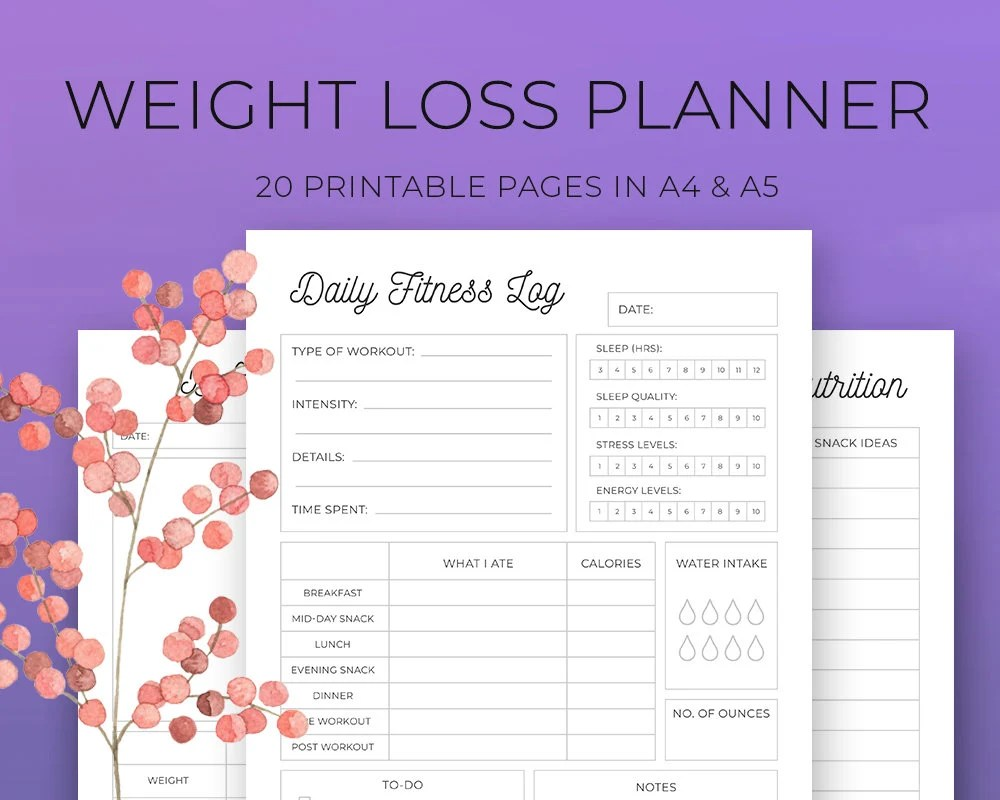 Weight Loss Planner Weight Loss tracker Workout Log Meal Etsy