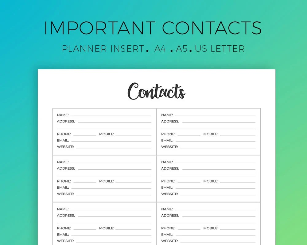 Address Book Important Contacts Personal Information Etsy