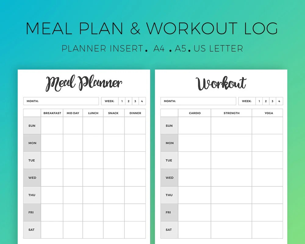 Meal Planner Workout Planner Weekly Meal Plan Weekly Etsy