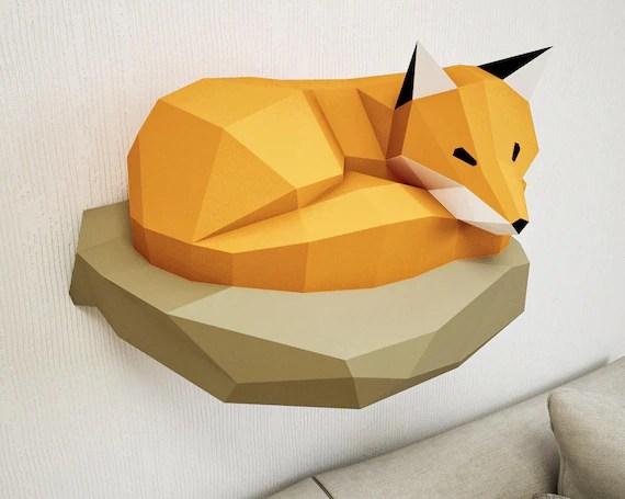 Papercraft Fox Su Roccia Modello Di Carta 3d Carta Etsy