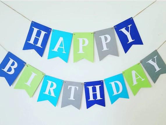 LARGE Happy Birthday banner,boy banner,boy Birthday bannerGreen