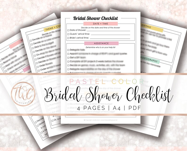 Bridal Shower Checklist Wedding Printable Wedding Binder Etsy