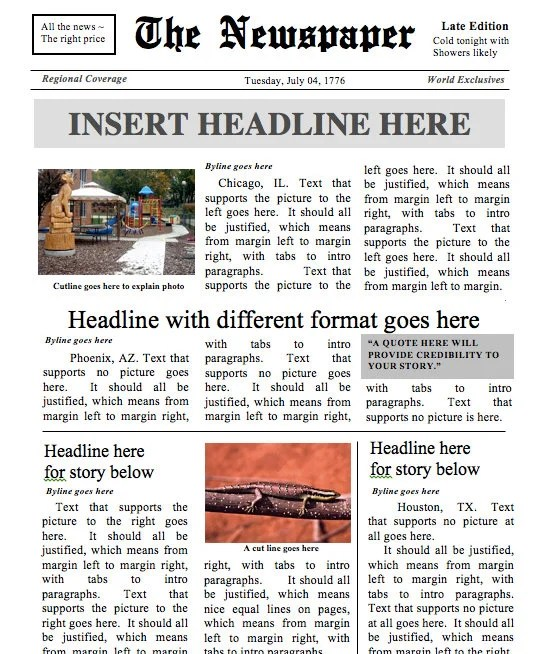 Designed by a Teacher Newspaper Template Instant Download Etsy