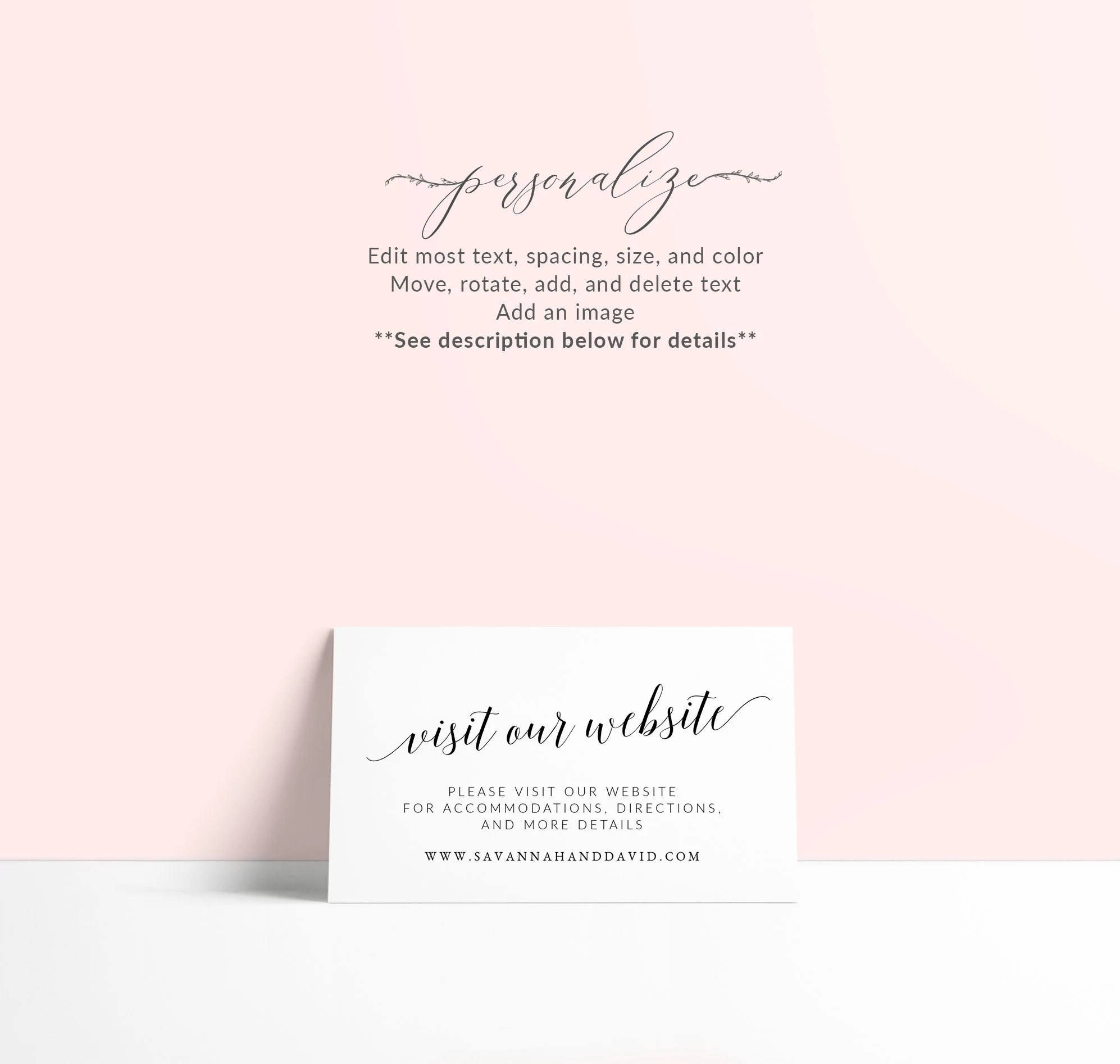 Wedding Website Card Template Printable Website Insert Card Etsy