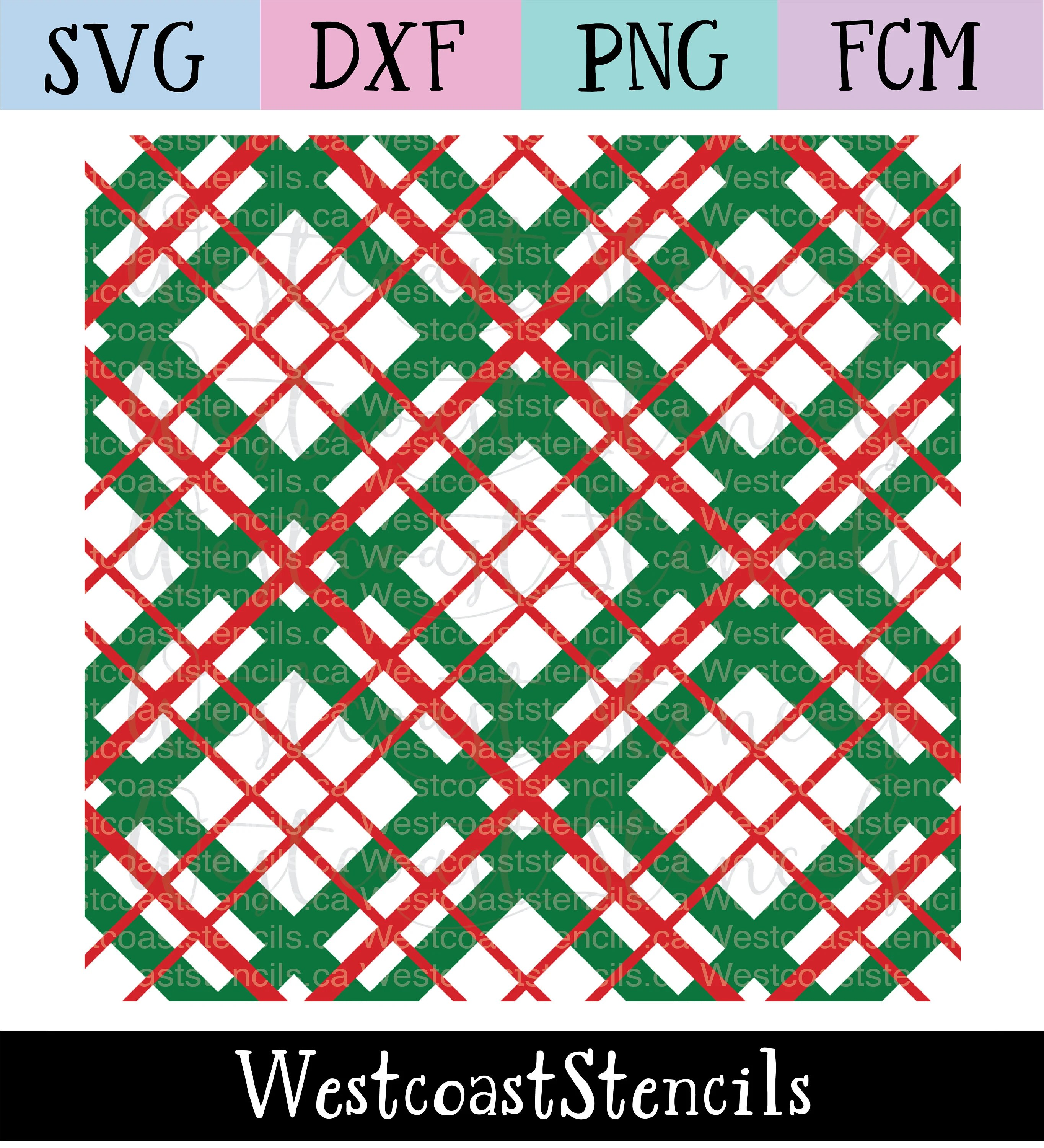 C En A Vesten Digital Tartan Stencil 2 Colour Svg File Digital Download Cut File Cookie Stencil