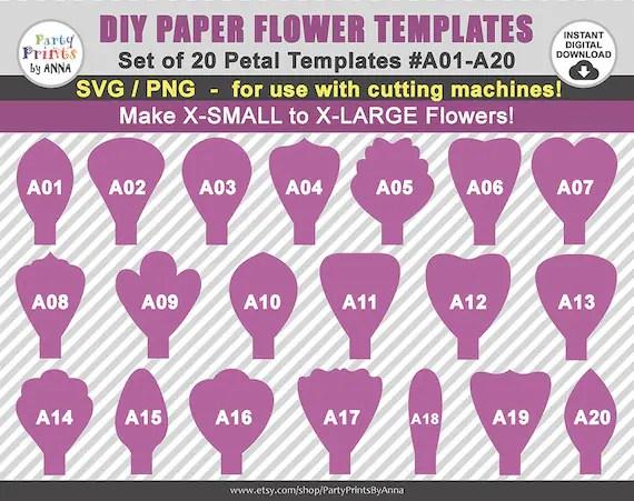 20 SVG Paper Flower Templates Petal Templates A01-A20diy Etsy