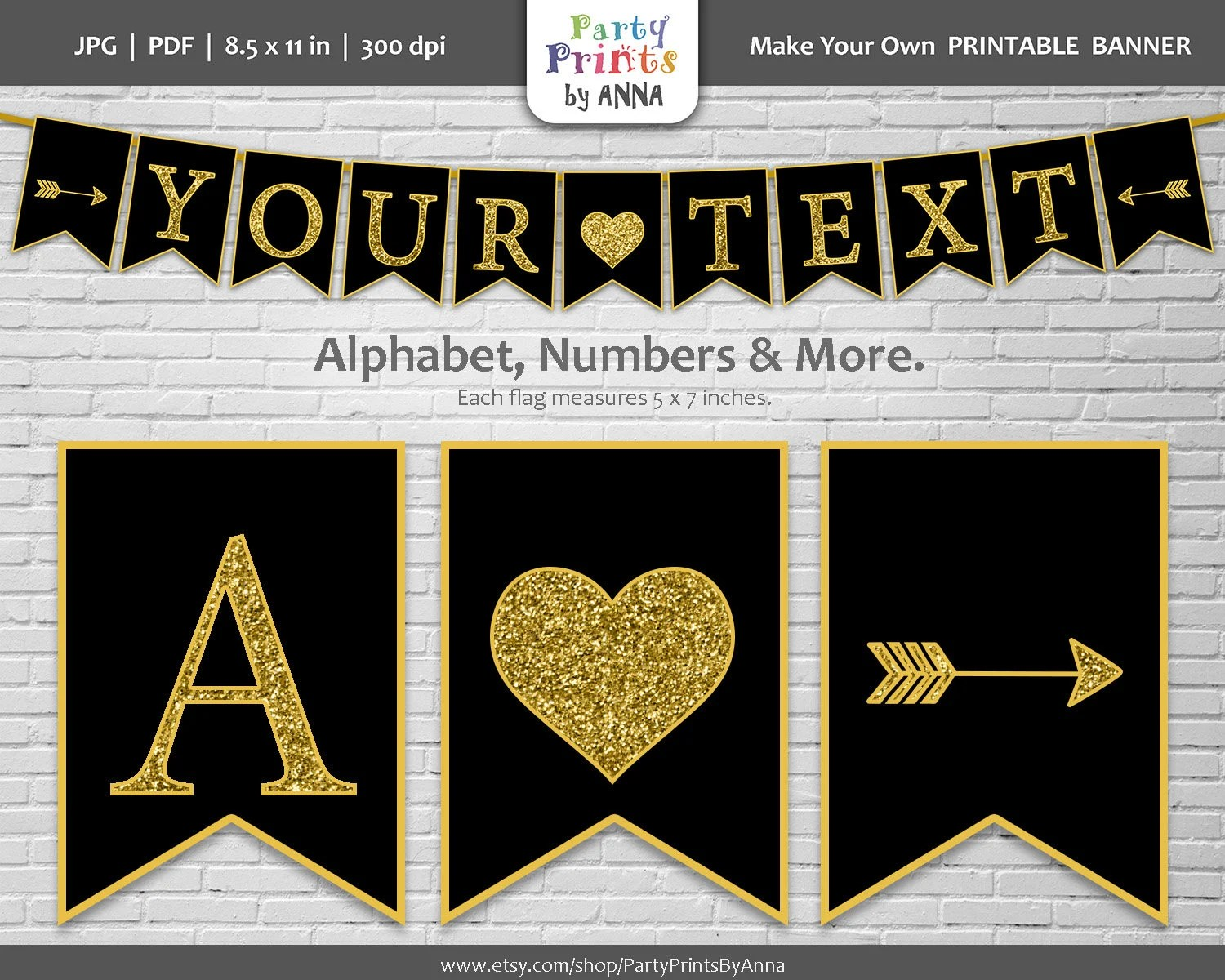 Printable Alphabet Letter Banner Gold Glitter on Black A-Z Etsy
