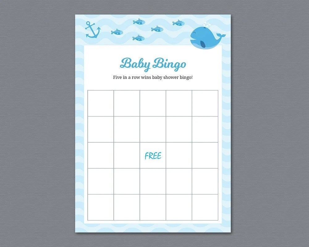Boy Baby Bingo Game Cards Printable Whale Baby Shower Bingo Etsy