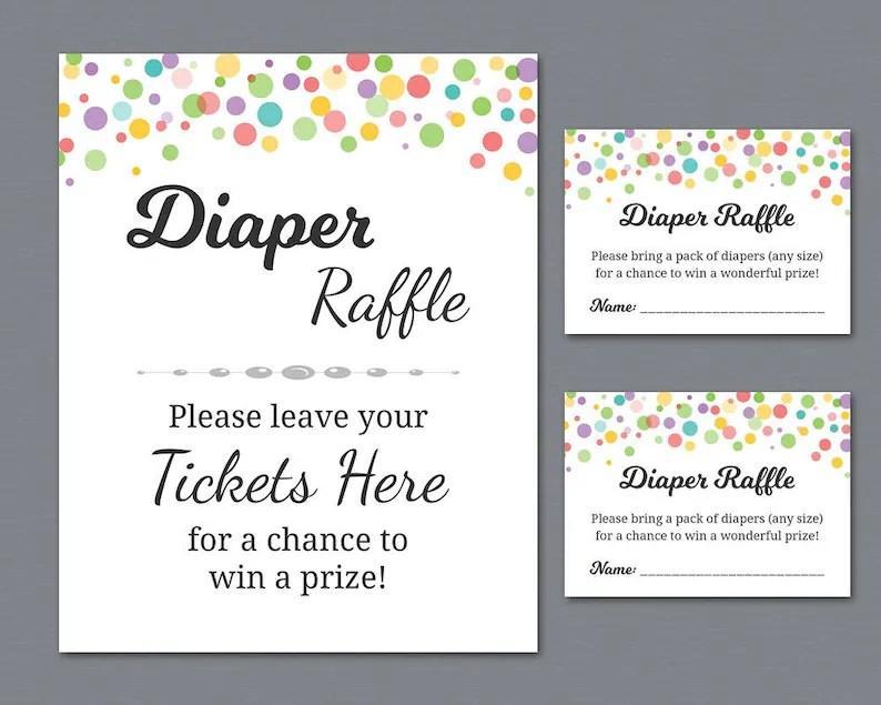 Rainbow Diaper Raffle Tickets Printable Diaper Raffle Sign Etsy
