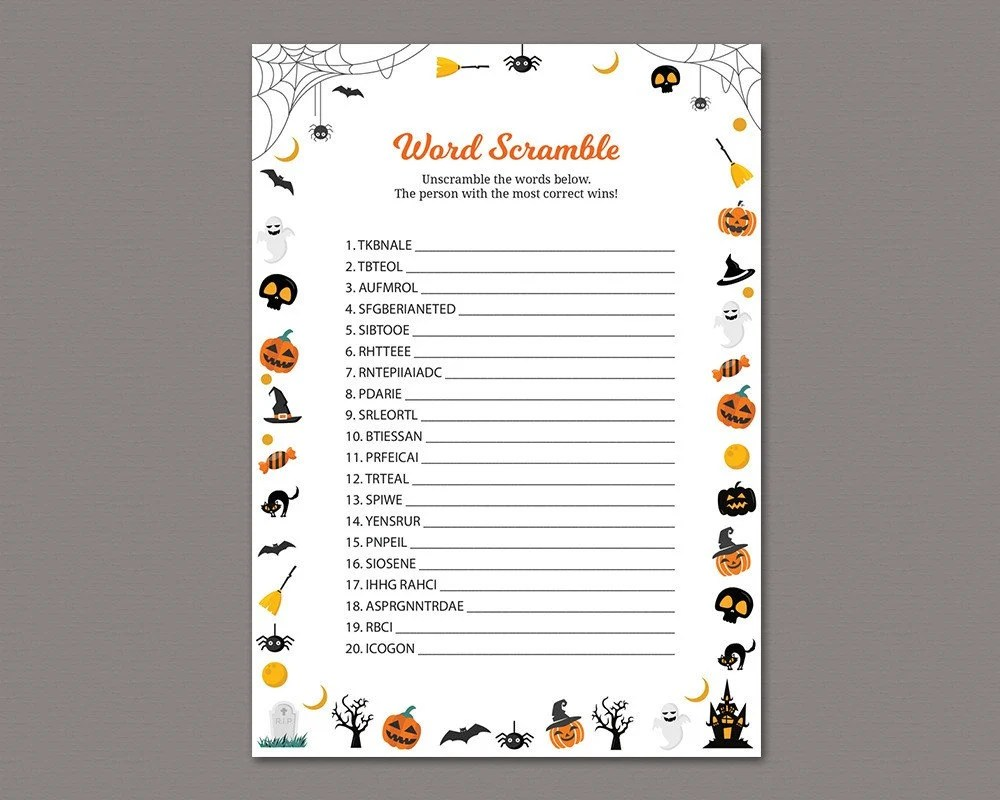 Word Scramble Game Printable Autumn Baby Shower Games Fall Etsy
