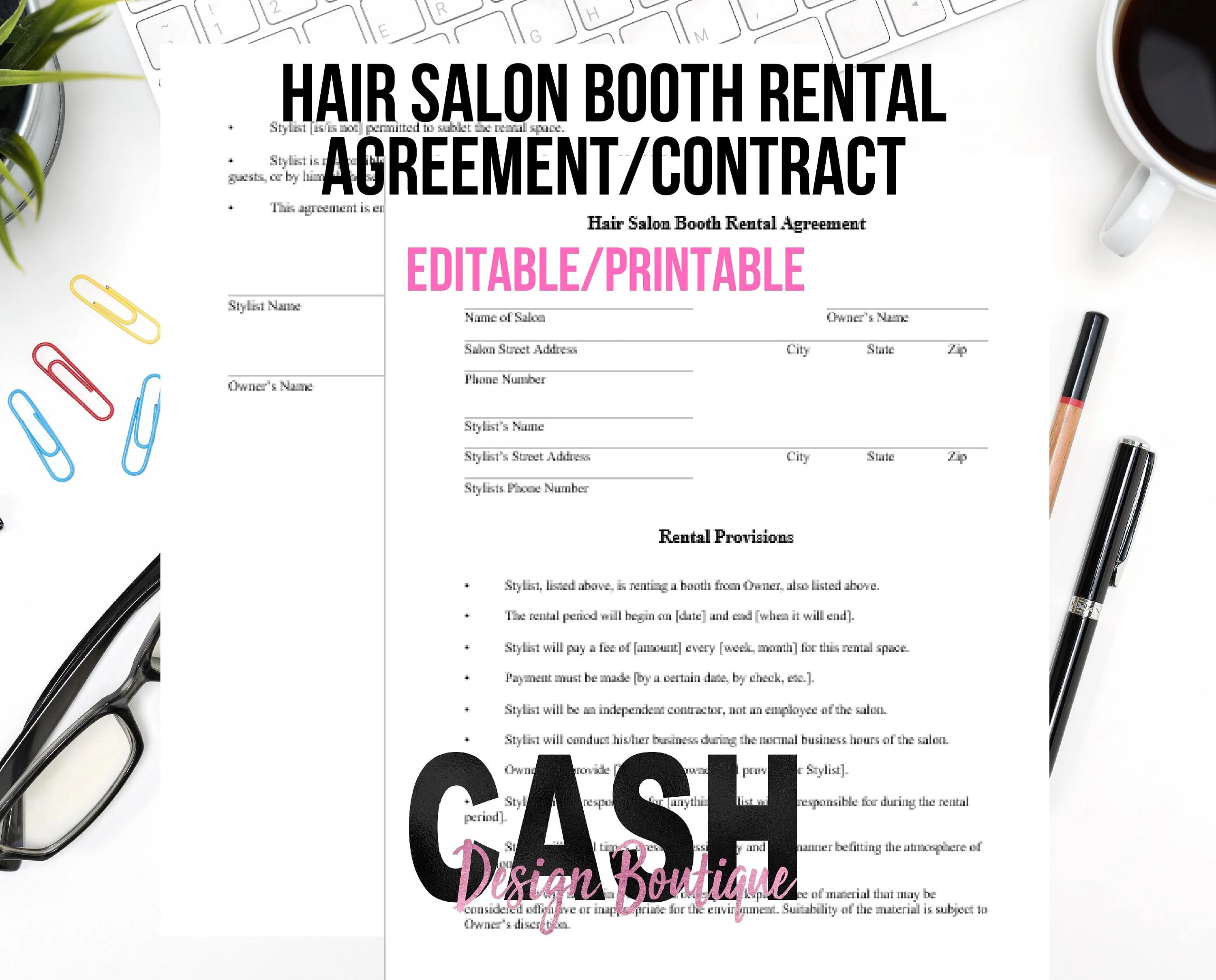 Hair Stylist Booth Rental Agreement/Contract Letter Size Etsy