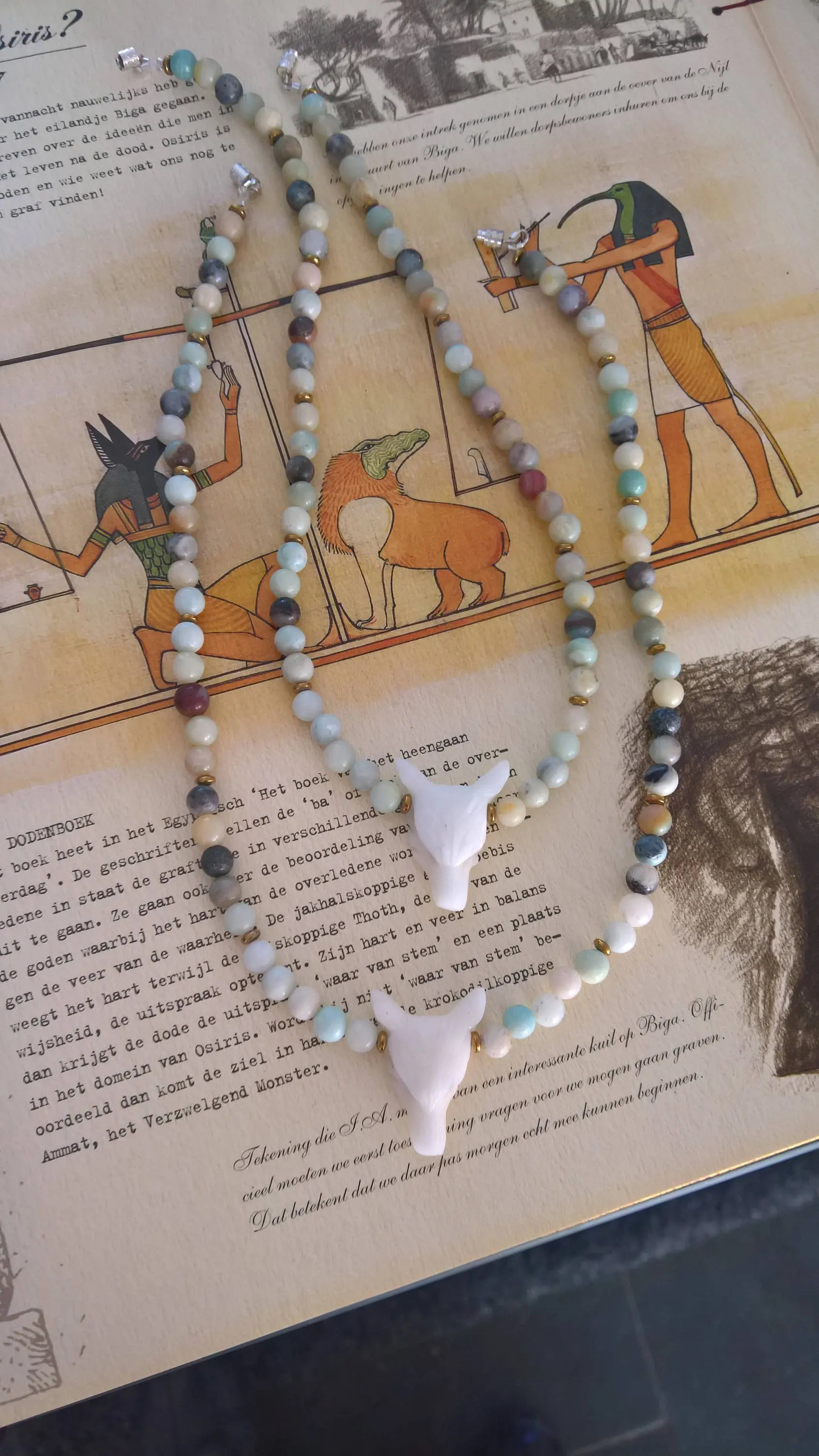 Wat Betekent Crush 2 Matching Jade Wolf Head Pendant Necklaces On Multi Colored Amazonite Necklace With Hematite Spacers