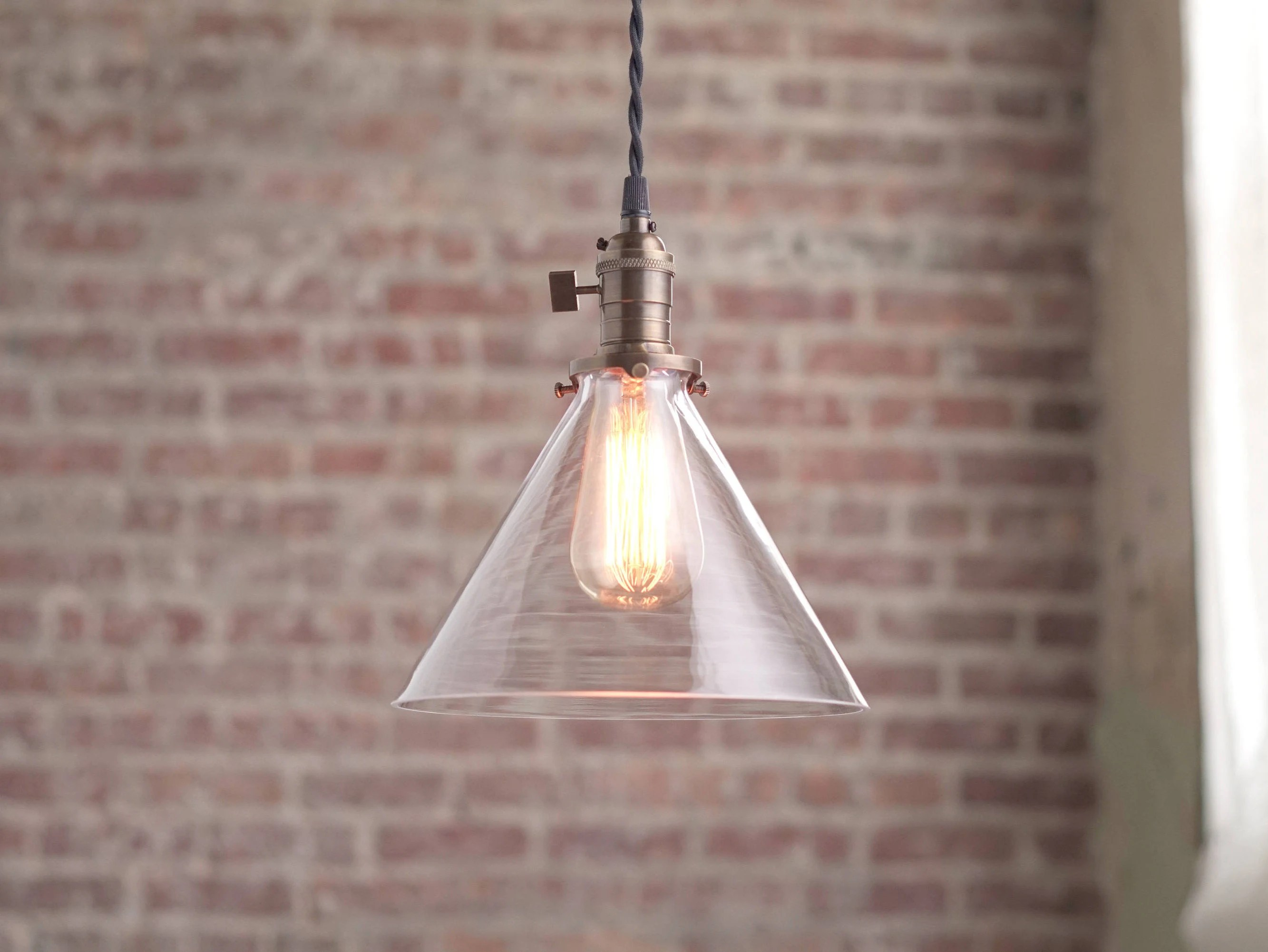 Glass Edison Lamp Modern Pendant Light Glass Shade Edison Bulb Pendant Hanging Light Fixtures Pendant Lamp Pendants
