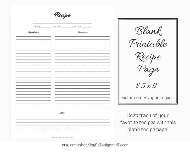 Printable Editable Recipe Page Blank Recipe Template 85 x Etsy