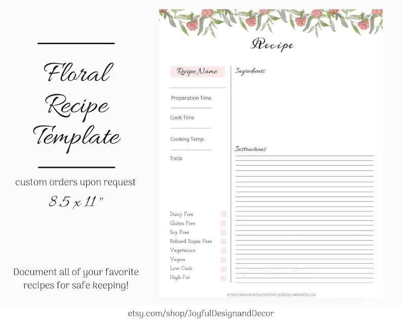 Floral Recipe Card Template Blank Recipe Card Etsy