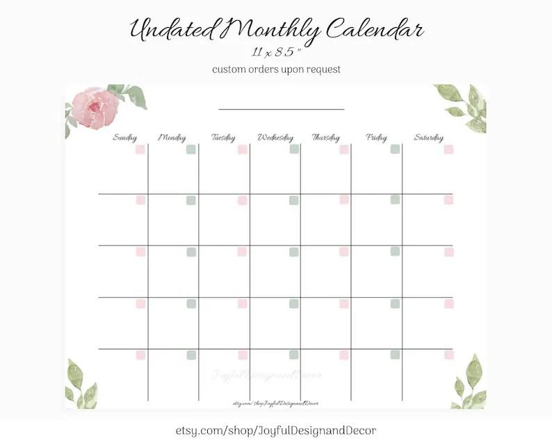 Undated Monthly Calendar Blank Calendar Printable Custom Etsy