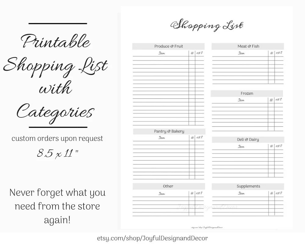 Printable Grocery List with Categories Printable Shopping Etsy