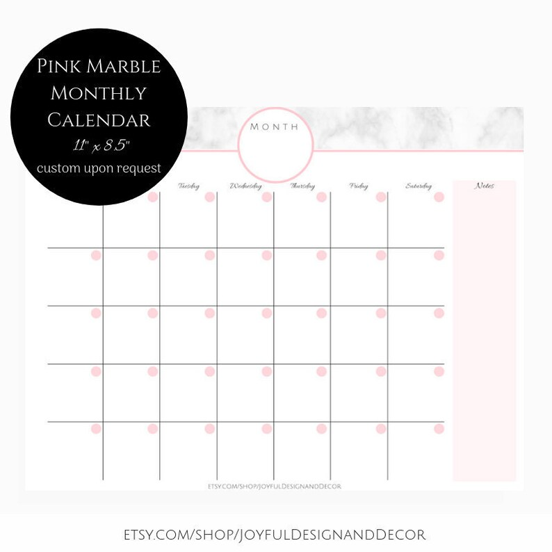 Pink Marble Monthly Calendar Blank Monthly Planner Monthly Etsy