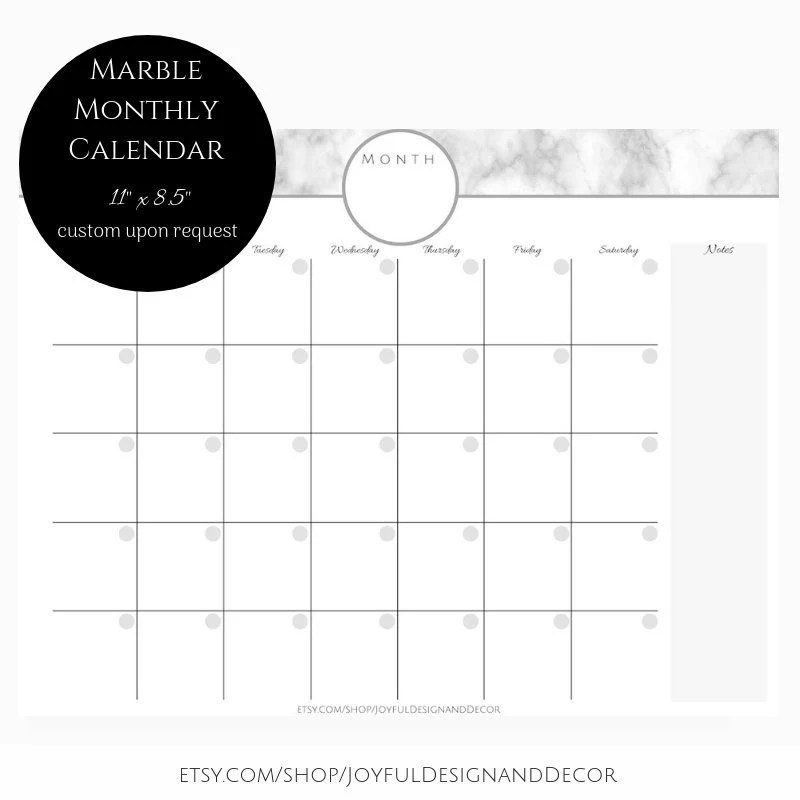 Marble Monthly Calendar Blank Monthly Planner Monthly Etsy