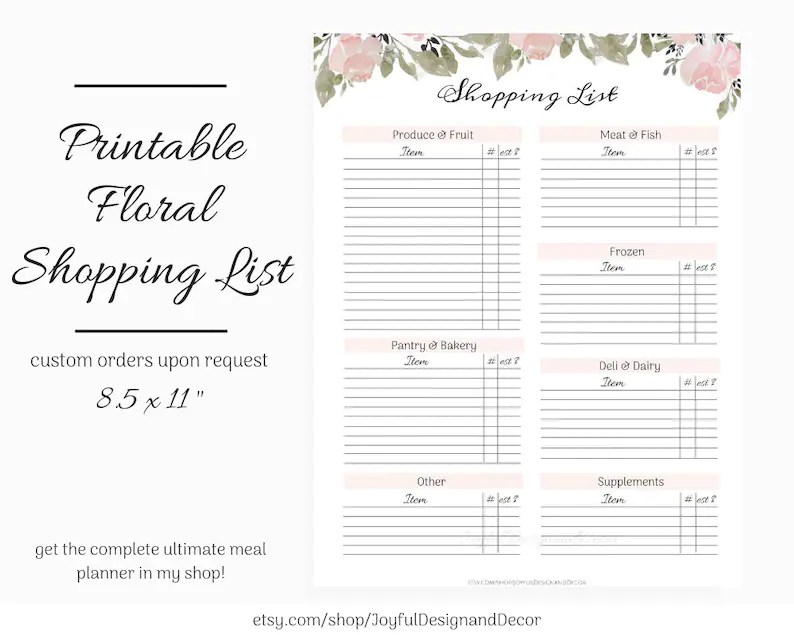 Printable Grocery List Blank Shopping List 85 x 11in Etsy