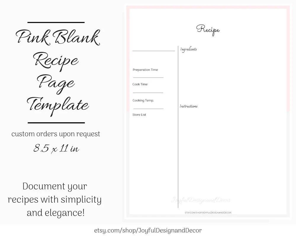 Printable Recipe Page Blank Recipe Template 85 x 11in Pink Etsy