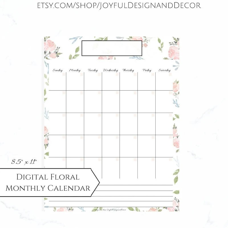Floral Monthly Calendar Printable Blank Calendars Pink Etsy