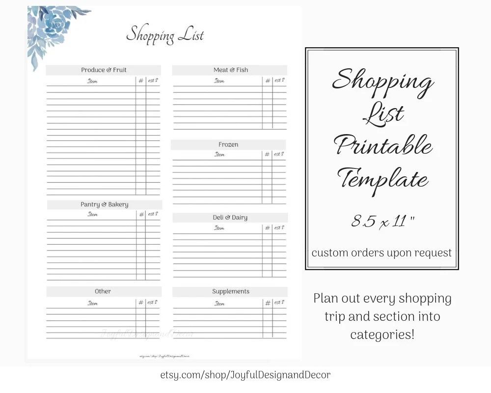 Printable Grocery List Template Shopping List Template Etsy