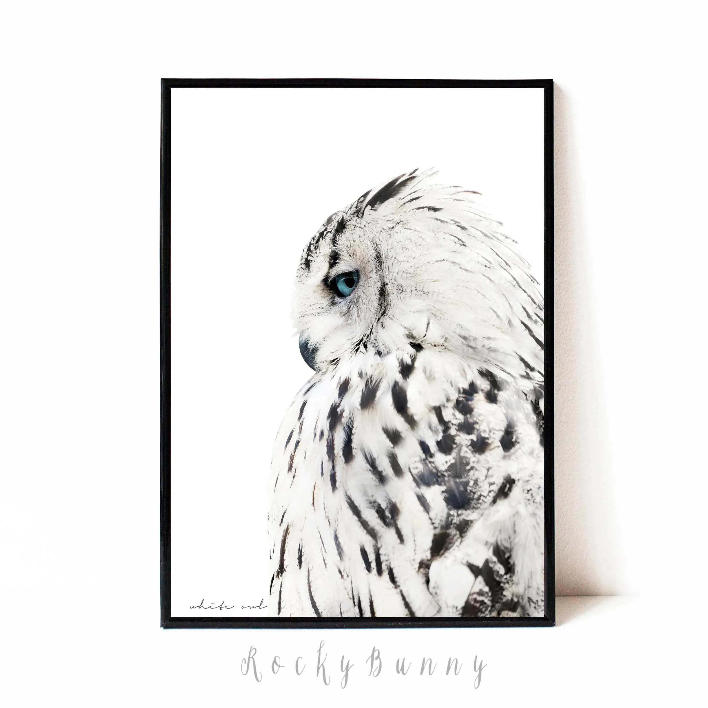 Owl wall art print black and white printable poster instant Etsy