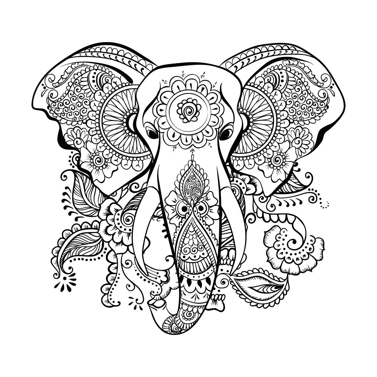 Zentangle Elefant Vorlage Ethnischen Elefant Svg Mandala Elefant Svg Elefant Kopf Svg Zentangle Elefant Svg Schnitt Tisch Design Svg Dxf Eps Png