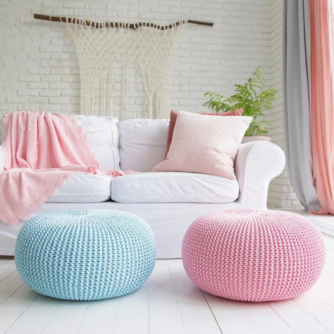 Extra Large Pouf Ottoman Giant Pouf Ottoman Extra Large Floor Cushion Bean Bag Chair Oversized Round Ottoman Floor Pouf Seating Pillow Xxl Knit Pouffe