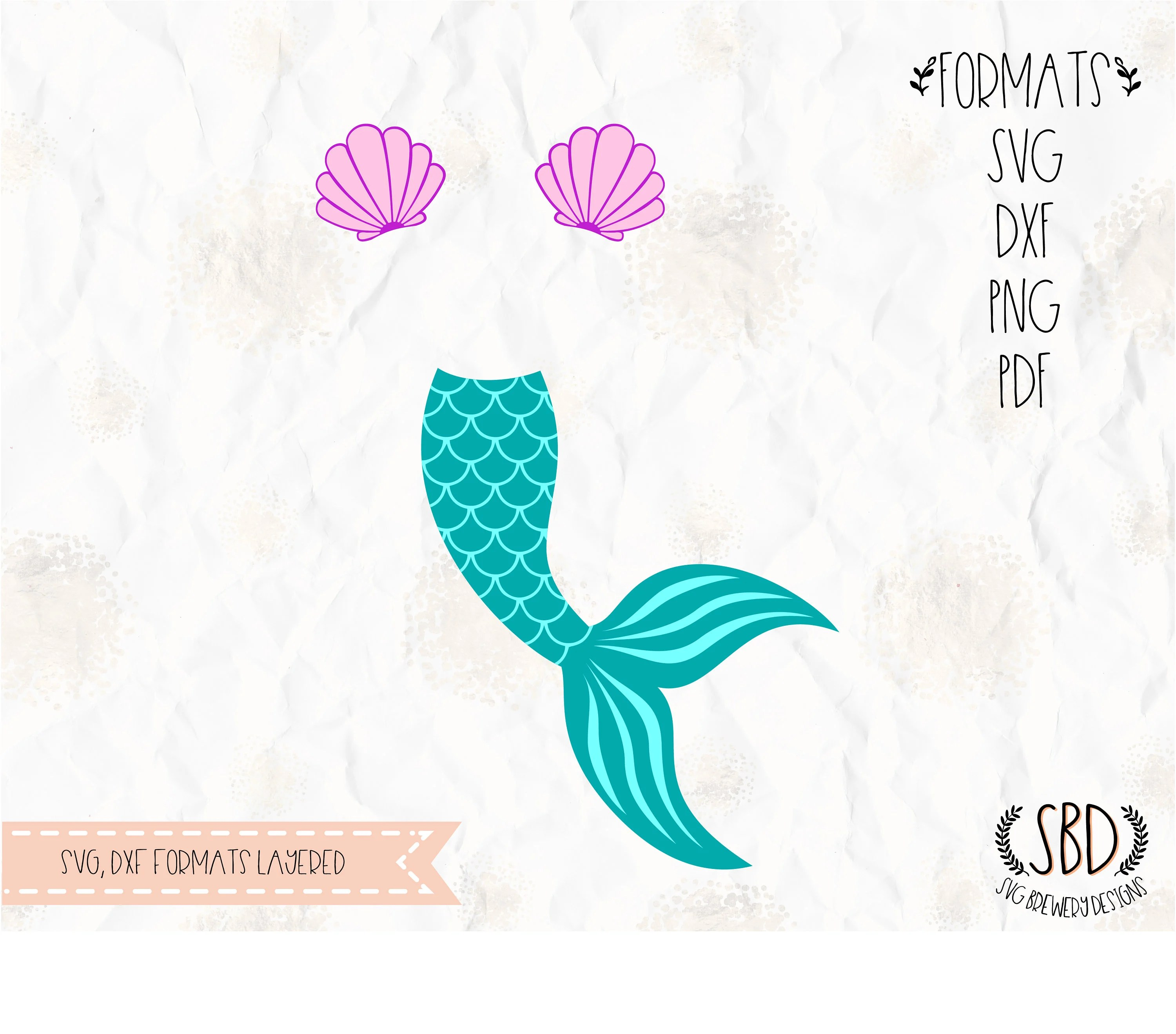 Mermaid tail clam shell SVG layered PNG DXF for cricut Etsy