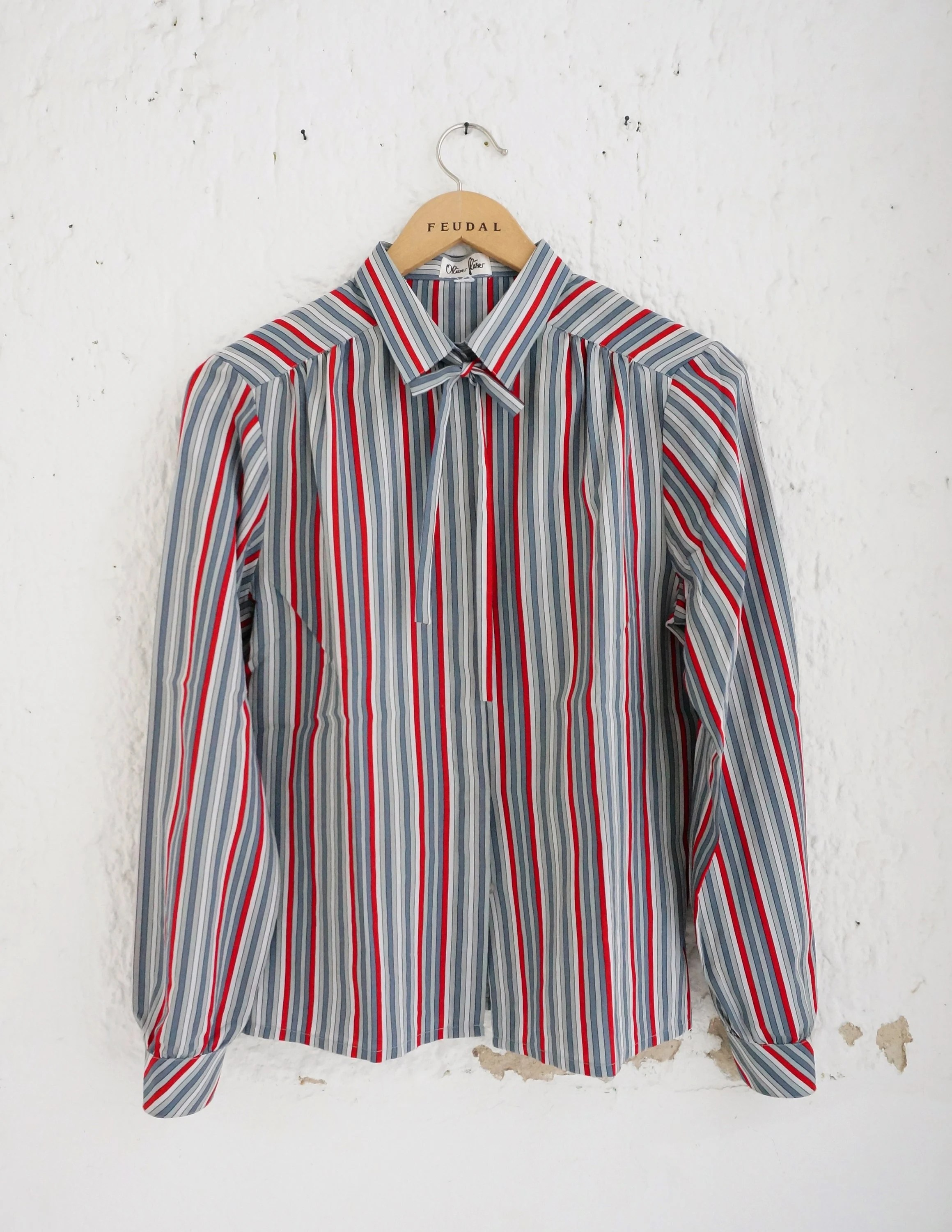 Vintage Gläser Vintage Oliver Glaser Red And Grey Striped Blouse With Neck Tie M