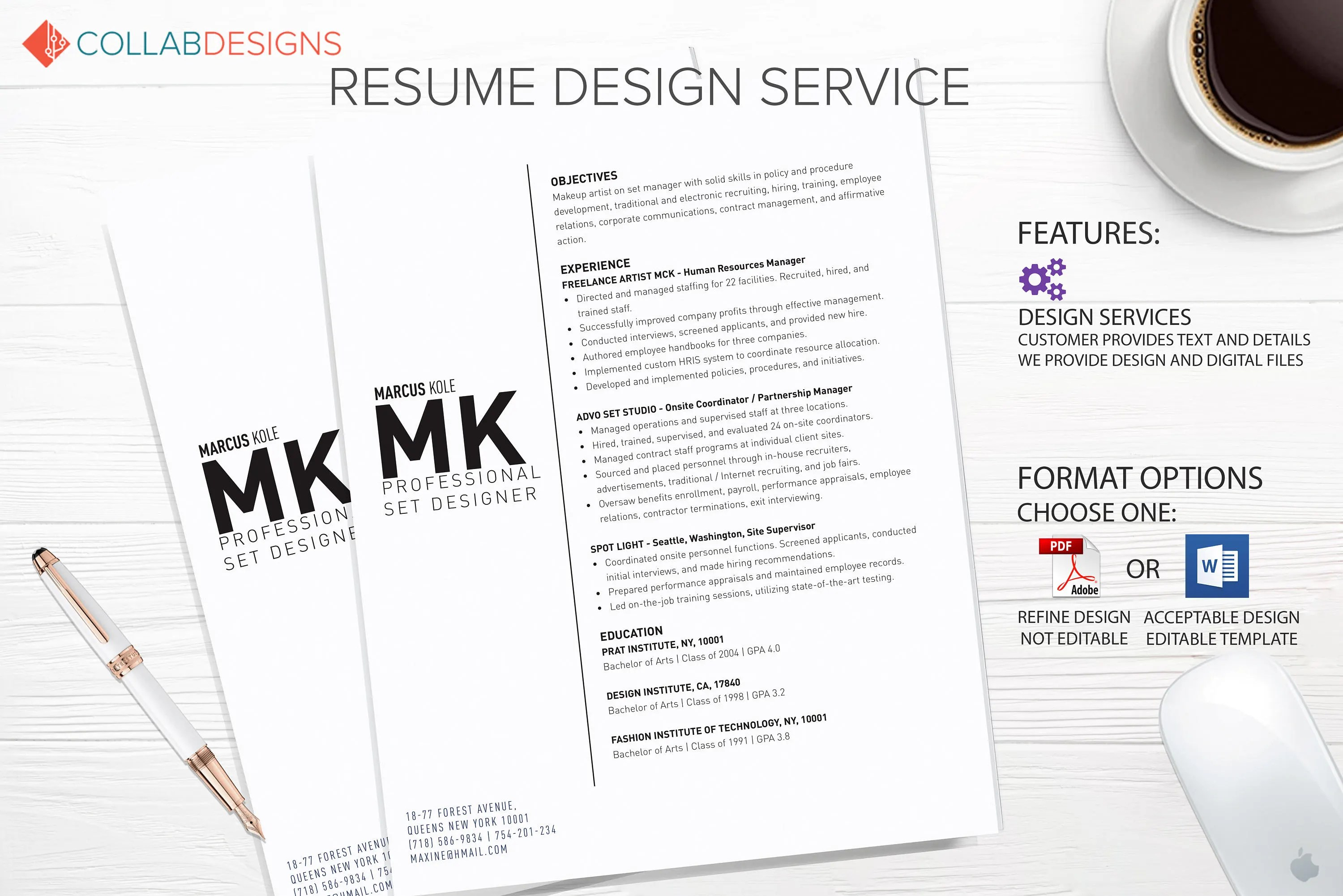 Resume template resume design Custom Resume Professional Etsy