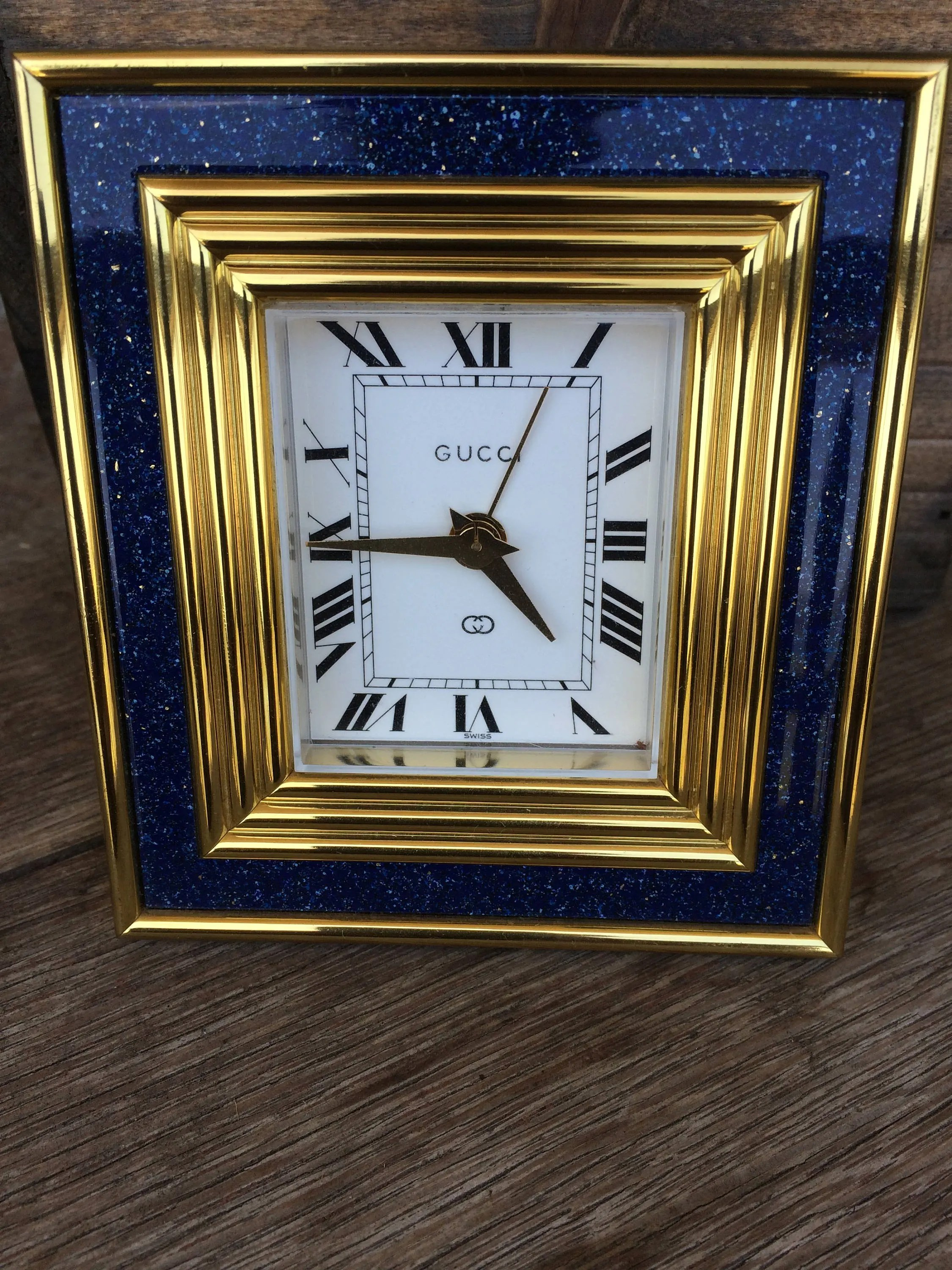 Etsy Vintage Gucci Vintage Gucci Blue Lapiz Brass 8 Day Alarm And Table Clock