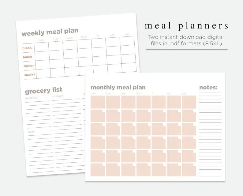 Meal Planner Grocery List Meal Prep Meal Calendar Etsy