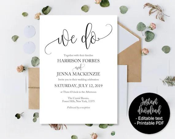Wedding Invitation Template Set, Save the Date Printable, Invite