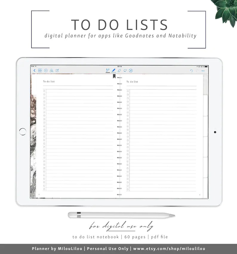 To Do Lists / Goodnotes  Notability Digital Planner / Planner Etsy