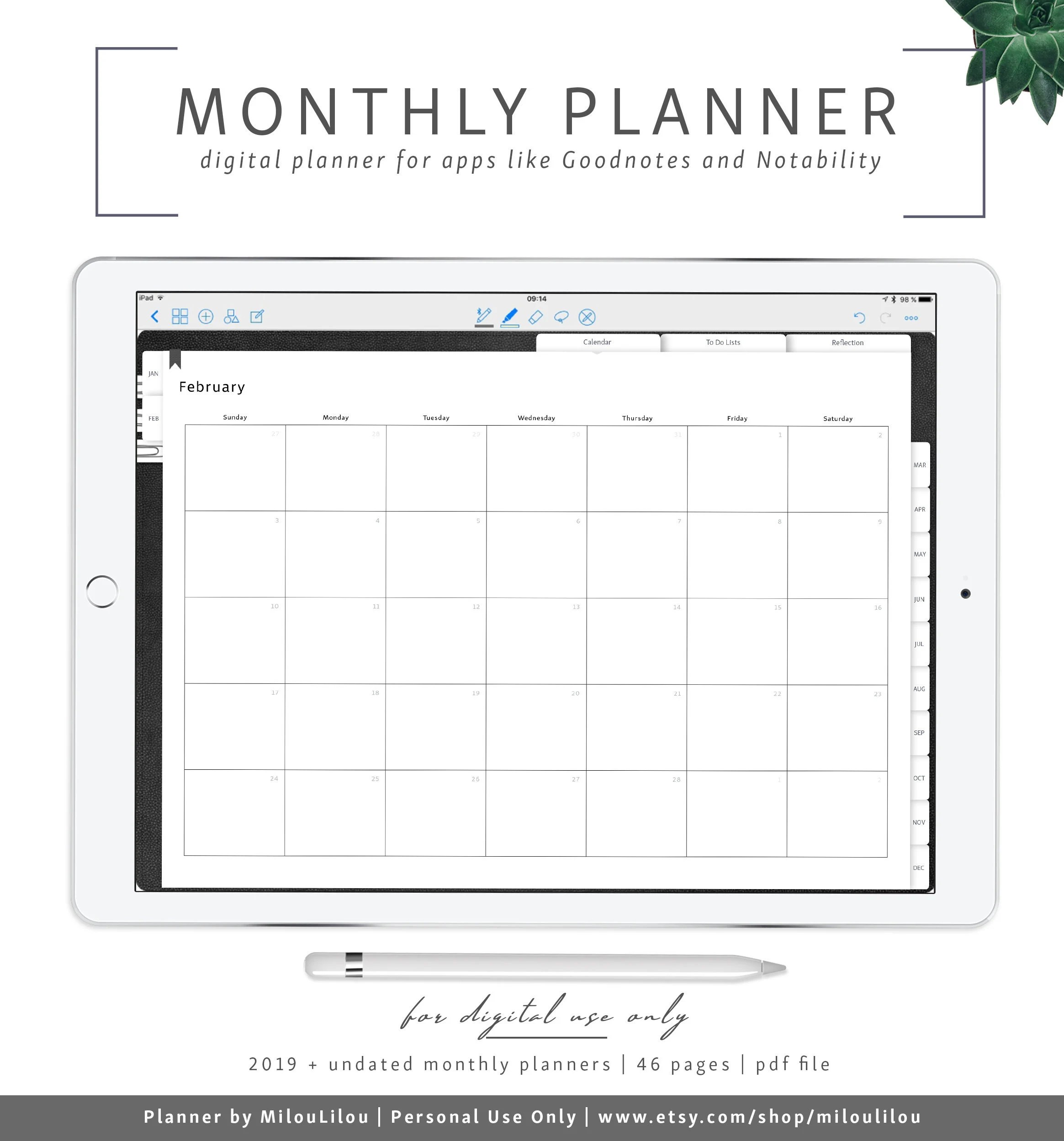 Month Planner 2019 / Goodnotes  Notability Digital Planner / Etsy