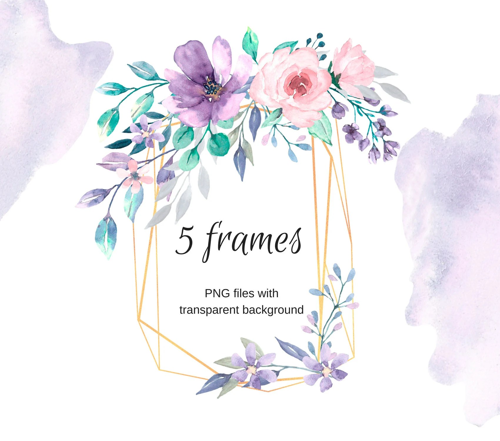 Golden frames for greeting card watercolor clipart png files Etsy