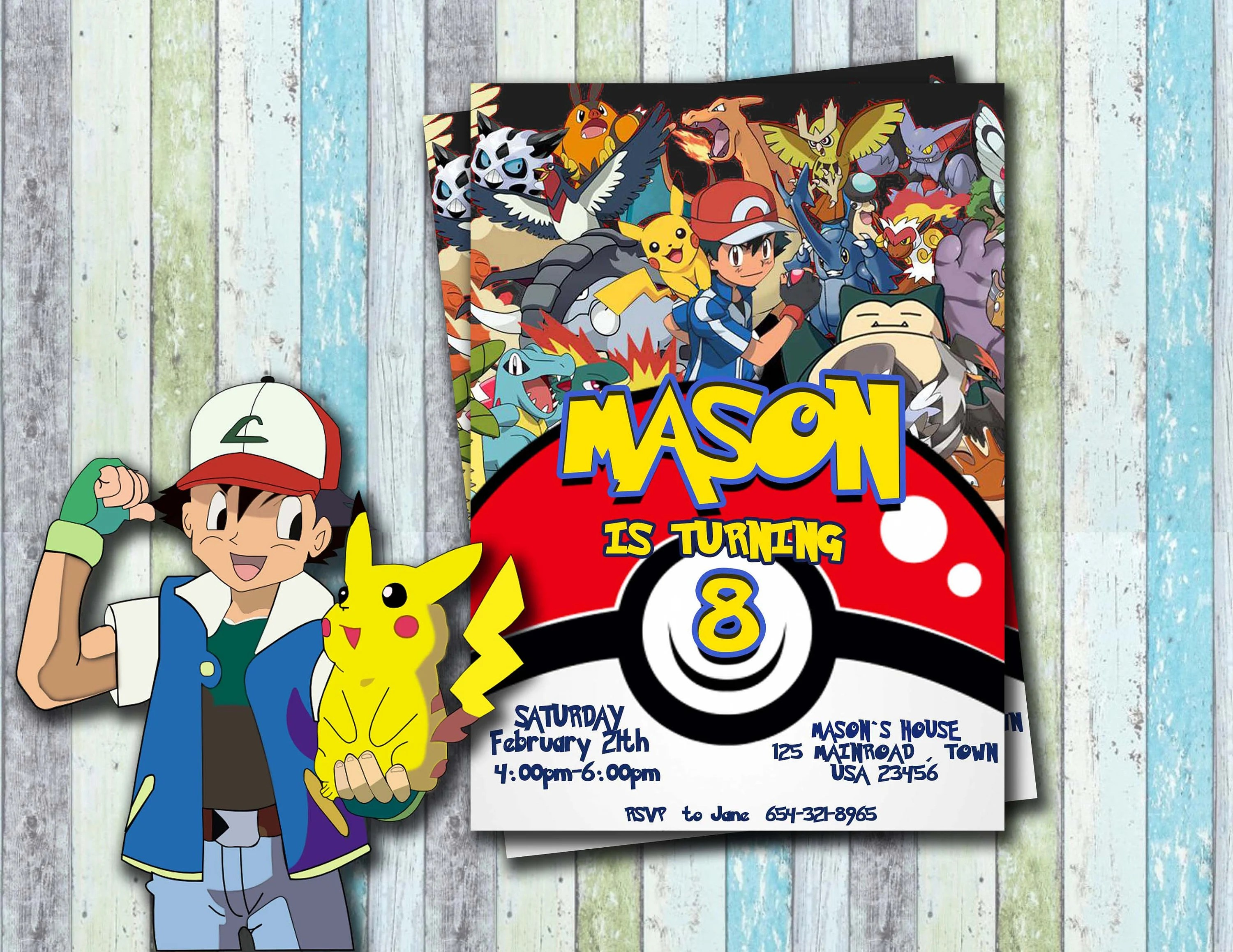 Pokemon Invitation Pokemon Birthday Pokemon Party Pokemon Etsy