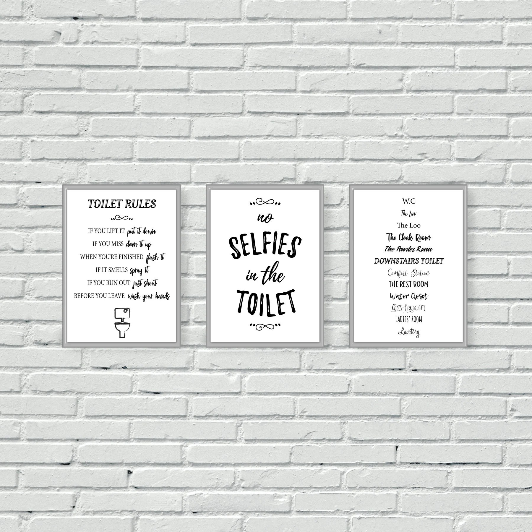 Toilet Wall Art Toilet Wall Prints Bathroom Wall Art Set Of Three Cloakroom W C Black And White Mono Downstairs Loo Wall Decor Bathroom Decor A4