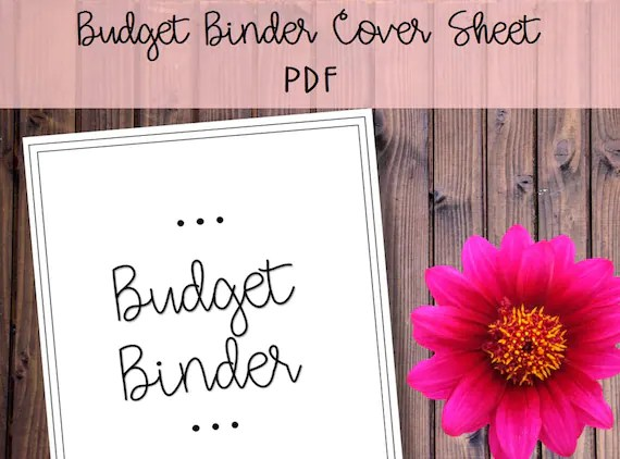 Budget Binder Cover Sheet Printable Instant Download Family Etsy