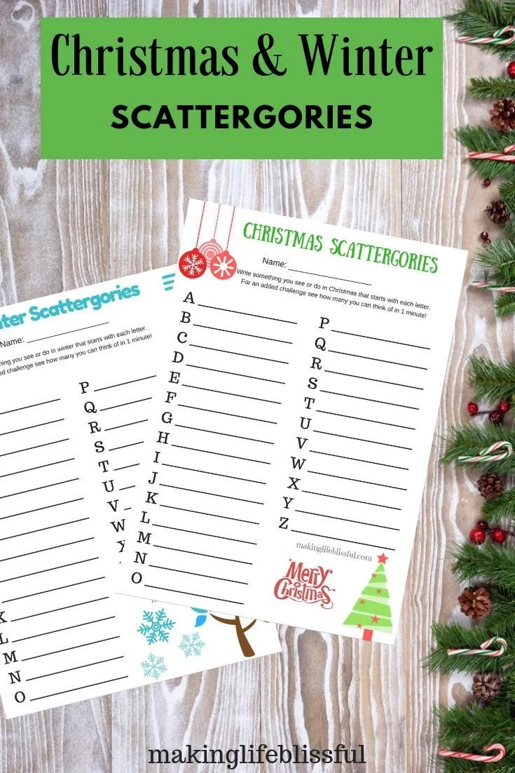 Winter Scattergories Printable Game and Christmas Etsy
