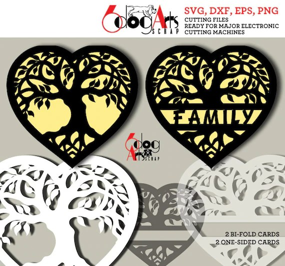 Tree of Life Family Heart Digital Cut Files SVG DXF Cuttable Etsy