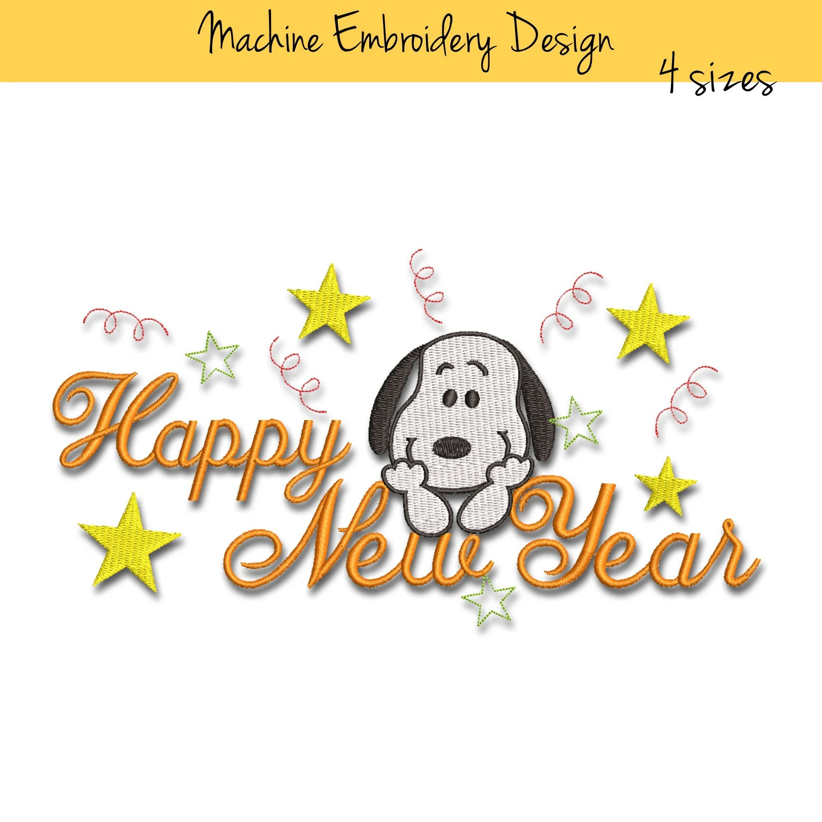 Snoopy machine embroidery design Happy New Year designs Etsy
