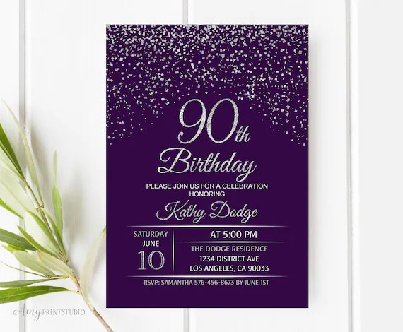 90th Birthday Invitation Purple Silver Birthday Invitation Etsy